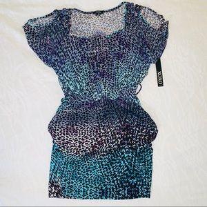 Xoxo Animal Print Teal Dress Pockets Open Shoulder